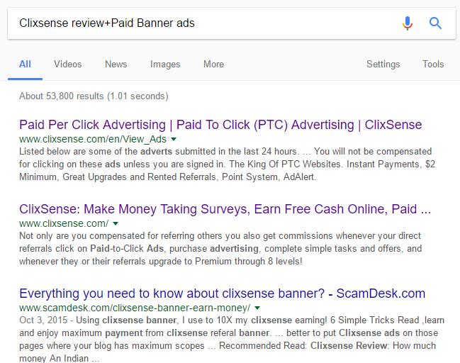 Clixsense referrals link blog banner ads