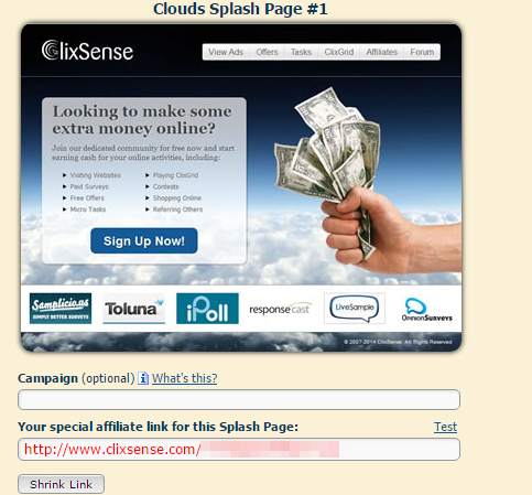 Splash Pages on Clixsense and earn money from India Clixsense Review